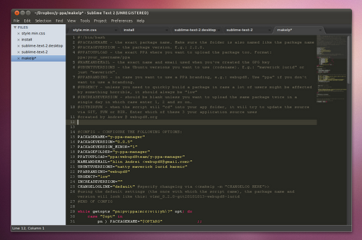 Screenshot von Sublime Text 2 unter Ubuntu