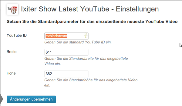 Ixiter Show Latest YouTube - Einstellungen